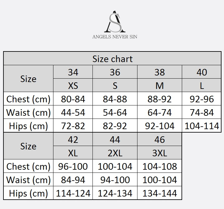 Angels Never Sin Size Chart