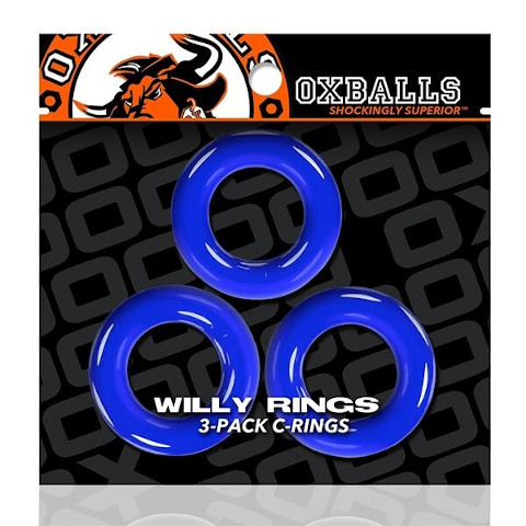 Oxballs Willy Rings 3 Pack - Police Blue